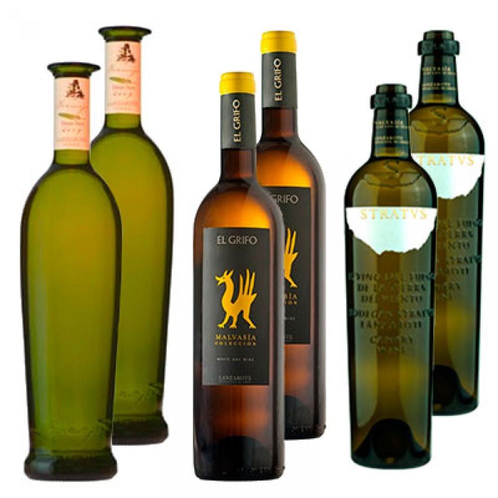 Distintos vinos blancos de Lanzarote
