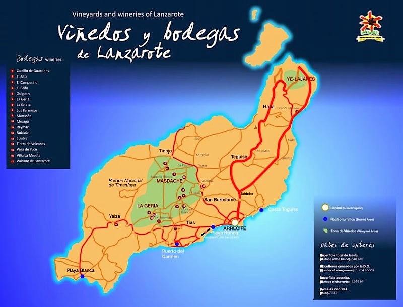 Mapa de los vinos de lanzarote